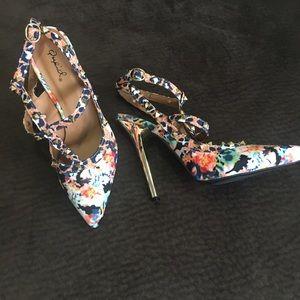 Multi colored spiked heel